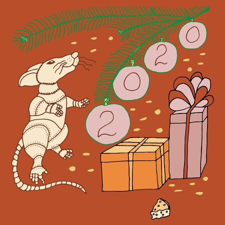 Symbol of 2020 year White metal Rat New Years holiday vector sketch freehand drawing