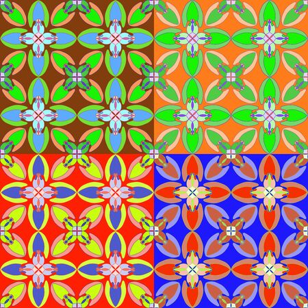 Seamless geometric abstract pattern in four different color tones