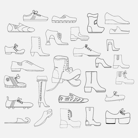 Set of graphic vector freehand drawings of different types of shoes Çizim