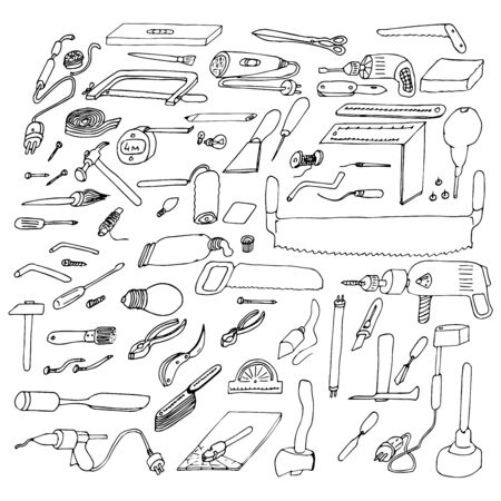 Set of graphic vector drawings by hand of different tools, devices and materials in the home workshop