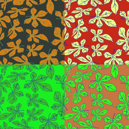 Seamless vector floral pattern of tree leaves in four different colors