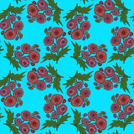 Seamless vector floral background with symmetrically arranged bouquets of plants and flowers hand-drawn