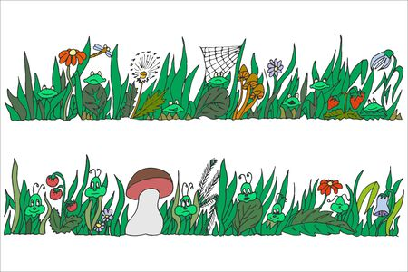 Two panoramic elongated  freehand drawings with grassy vegetation and symbolic insects and amphibians, protecting a fragile natural environment