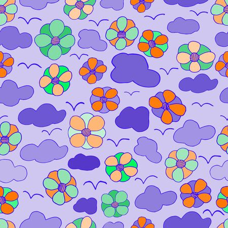 Seamless vector floral pattern made in the style of a pattern made by hand stylized on a violet background Çizim