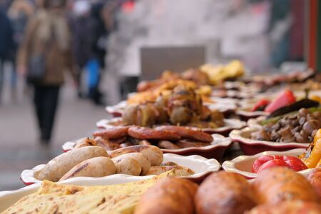 Street trading in Kiev, on January 7, 2020, grilled meat and vegetable snacks at Christmas festivities