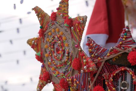 Street trading in Kiev, January 7, 2020, Christmas traditional Ukrainian souvenirs and handmade talismans 스톡 콘텐츠