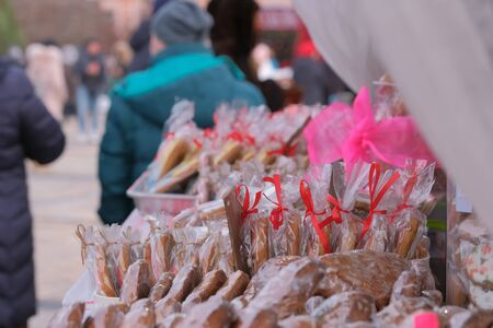 Street trading in Kiev, on January 7, 2020, Christmas sweets and sweet pastries at Christmas festivities