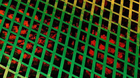 Abstract background, computer rendering, print cover in red colors with green cells