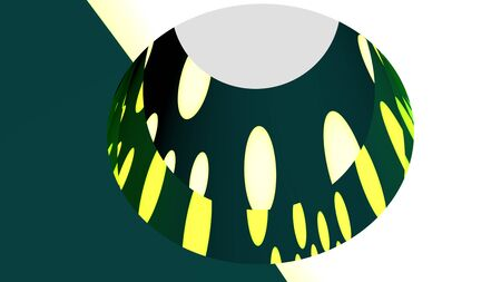 Geometric abstract illustration computer rendered oval in green colors