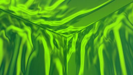 Geometric abstract illustration computer rendered in green colors