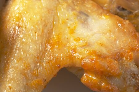 Grilled chicken wings with turmeric close-up macro photography product background