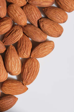 Dried almonds and hazelnuts close up macro photography grocery vegetarian background Banque d'images