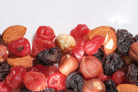 Mix of various dried berries for vitamin breakfast close up macro photography food vegetarian background