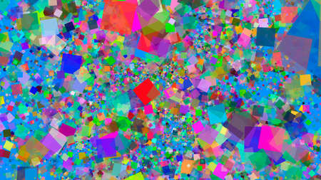 Abstract bright colored background splash computer render illustration of multicolored squares close-up
