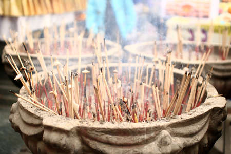 spiritual background: Incenses in big bowl.