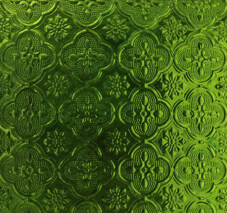 low glass: Big flowers pattern low relief on glass. green color.
