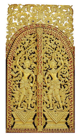 craving: Traditional wooden craving and painted for windows or doors in Thailand temple.