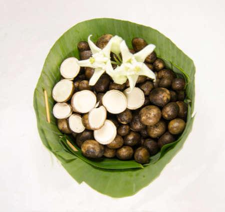 odorous: Thai puff ball mushrooms in�count of banana leaf.