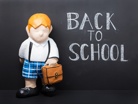 Back to school concept. Cute dummy with bag on black chalkboard background