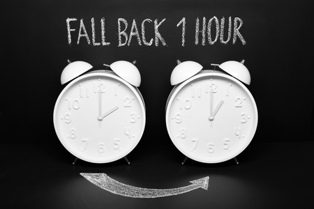 Fall back concept Autumn Time change. Two vintage clocks with chalky text on blackboard