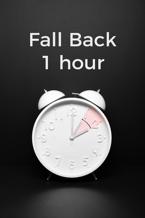 Fall back concept Autumn Time change. Day Light Savings Time End