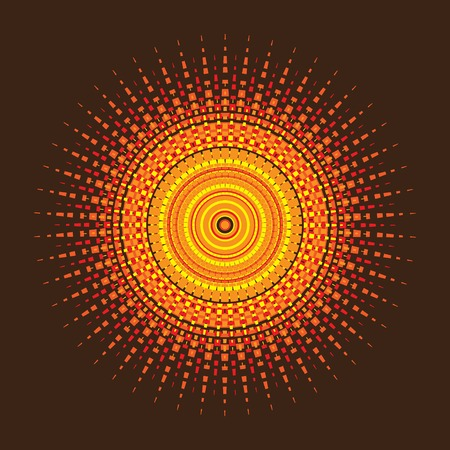 Geometric sun or Decorative rosette. Circle drawing of rays of the sun in vintage style vector illustration Ilustração