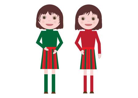 귀여운 작은 쌍둥이 여자 벡터 일러스트 레이 션 흰색 배경에 고립 된 예술입니다. 플랫 만화