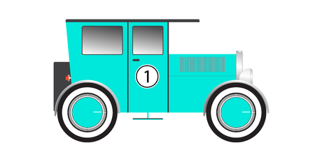Vintage car. Side view. Flat vector illustration. isolated on white background