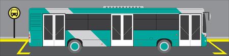 City bus on Bus stop. Flat style vector illustration. Urban transportation concept Vektorgrafik