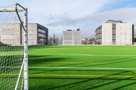 Soccer camp of Santiago de Compostela University with artificial turf Stockfoto