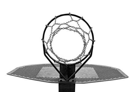 Metallic basketball hoop isolated on white background