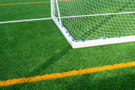 Soccer gate detail with artificial turf