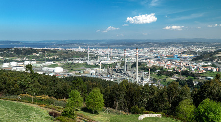 Refinery view of Curuna, Spain. Industrial landscape Stock Photo