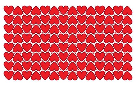 Fond rouge avec motif coeur géométrique. Vecteur de fond sans couture Saint Valentin Illustration
