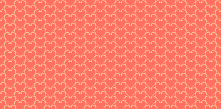 Red background with geometric heart pattern. Seamless valentines background vector Illustration