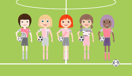 Five soccer player girls with diverse ethnicity on soccer court background. Cartoon vector illustration