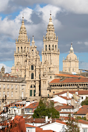 Cathedral of Santiago de Compostela with a new restored facade. Baroque facade architecture. Pilgrimage destiny of St. James way Santiago Galicia Spain Banco de Imagens