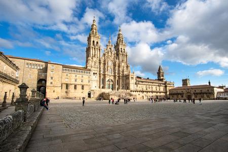 Santiago de Compostela, Spain. February 10 2019: Santiago de Compostela Cathedral view from Obradoiro square. Cathedral of Saint James, Spain. Galicia, pilgrimage