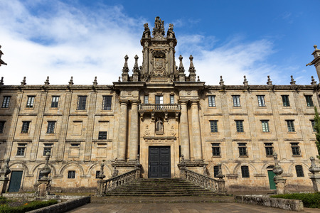 Facade of Monastery of San Martin Pinario. It is the second largest monastery in Spain after San Lorenzo de El Escorial. Santiago de Compostela, Spain