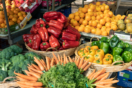 Padron, Spain; May 05, 2019: Fresh fruits and vegetables at Spanish farmers market