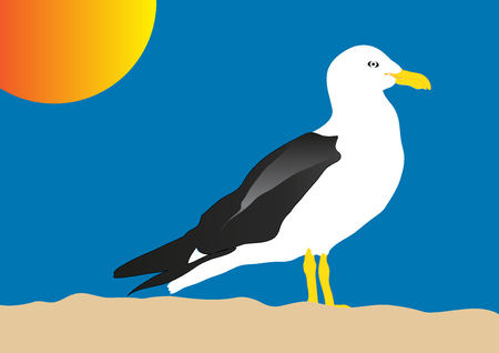 Seagull against blue sky background. Flat style cartoon vector illustration