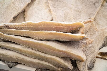 Dried salted cod at farmers market. Typical spanish and portuguese food