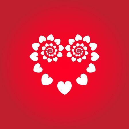 Heart geometric compostion made of hearts. Vector illustration Banco de Imagens - 130116813