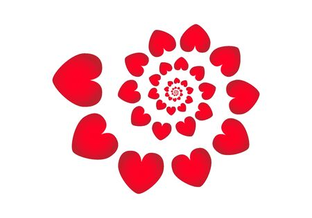 Spiral pattern made of hearts. Vector illustration Banco de Imagens - 130116816