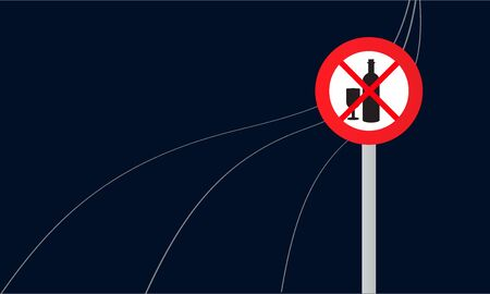 Traffic sign with alcohol prohibition on dark background. Vector illustration