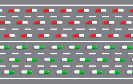 Driving and drugs or medicament concept. Pill capsules on road vector vector illustration