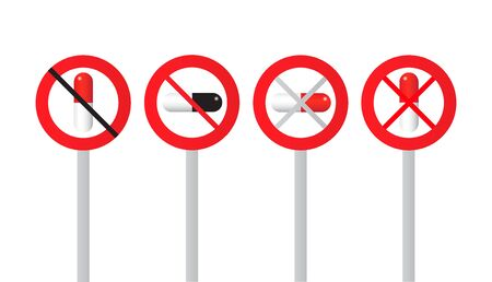 Traffic sign with alcohol and drug prohibition isolated on white background. Vector illustration Illustration