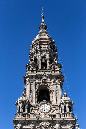 Berenguela or Clock tower of Santiago de Compostela cathedral. Sunny day Stock Photo - 130117227