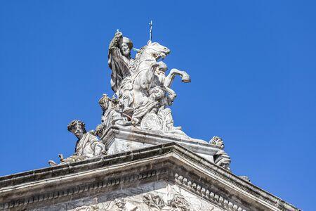 Equestrian statue of Santiago the Apostle Santiago. Sculpture of Saint James, Raxoi palace, Santiago de Compostela cathedral Stock Photo - 130117425