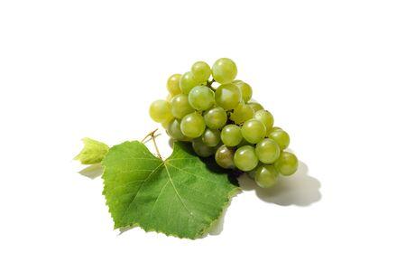 Fresh white grapes isolated on white background. White Grapevine